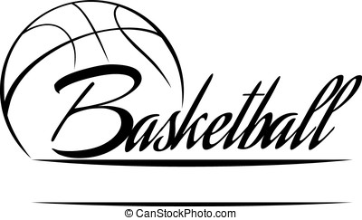 Basketball Banner - Stylized basketball with the word...