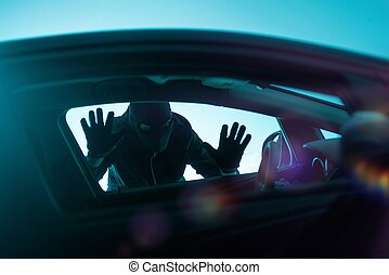 Car Robbery Concept - Car Robber Concept Photo. Robber...