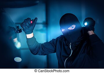 Car Thief Car Robbery Concept Photo. Caucasian Male Thief in...