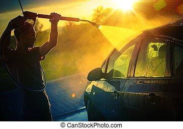 自動車, 洗浄, 日没