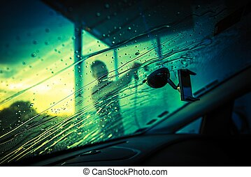 Car Windshield Cleaning Car Cleaning in the Car Wash Inside...