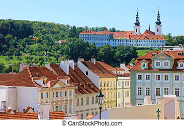 Cityscape of historical Prague center, eastern Europe.