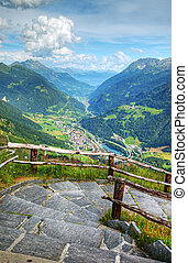 Alpine valley view from peak, Switzerland, Europe