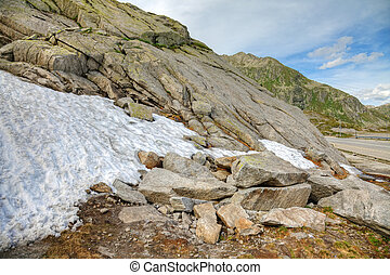Melting snow in summer, swiss Alps, Europe.