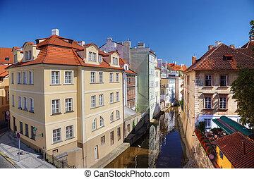 Certovka river in old central Prague