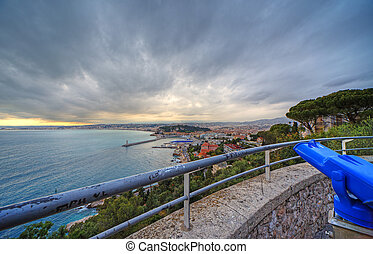 Wide angle panoramic view of harbor of Nice city, France...