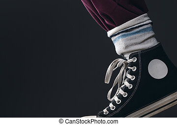 Someone wearing the socks over the pants - a Leg with Pants,...