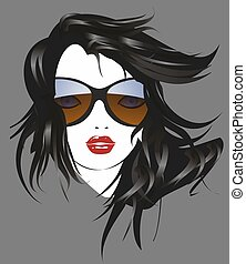 The woman with sunglasses - composition of the woman's face...