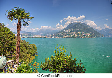 Picturesque swiss lake landscape, Europe.