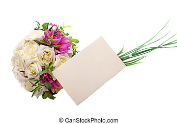 Wedding bouquet and blank envelope isolated on white background.