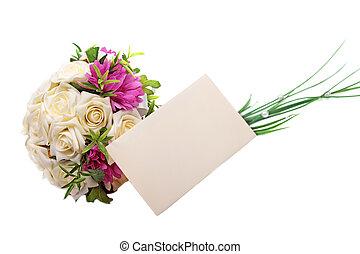 casório, buquet, e, em branco, envelope, isolado,...