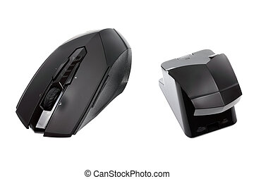 Modern wireless mouse and reciever isolated on white...