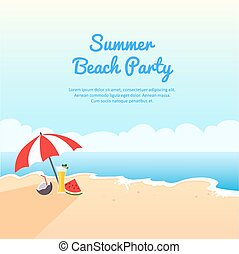 Summer beach party banner, vector illustration with place...