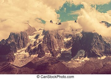 Mont Blanc Massif Scenery in Vintage Color Grading Mont...