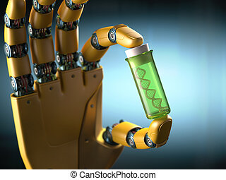 Gene Therapy - Robotic hand holding a test tube with a...