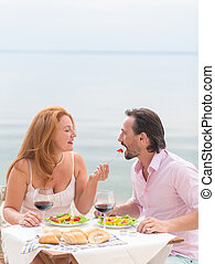 Middle-aged couple - Romantic and family concept Smiling...