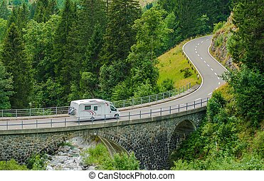 RV Camper Van Trip Camper Van on the Mountain Road Bridge in...
