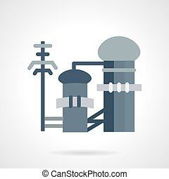Waste treatment flat vector icon - Flat color design vector...