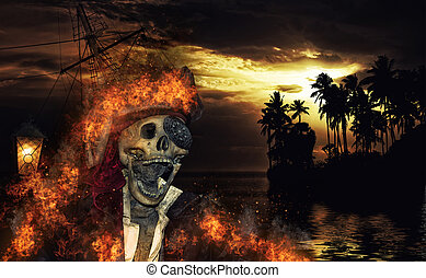 Pirate in the caribbeans - Pirate skeleton in the caribbeans...