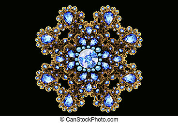 Illustration fractal gold brooch with blue gems