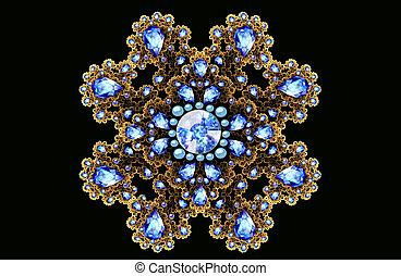 Illustration fractal gold brooch with blue gems