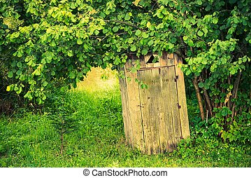 Wooden Outhouse - Old Wooden Backyard Outhouse Rustic...