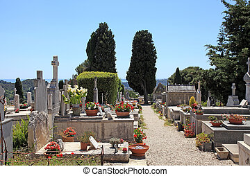 old cemetery in Saint Paul de Vence, Provence, France. -...
