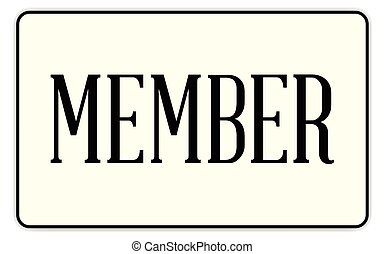 Member - A member badge with text over a white background