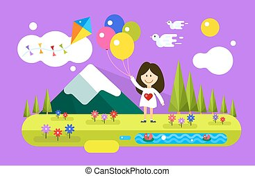 Happy girl with ballons on summer background. Natural, peace, children, kids festival, spring or summer, landscape, doves. Design elements.