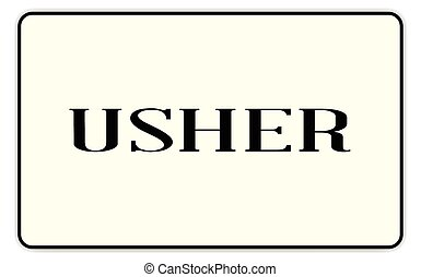 Usher badge with text over a white background