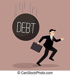 Businessman run away from heavy debt. Business finance...