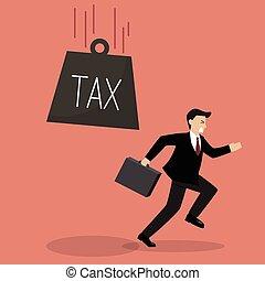 Businessman run away from heavy tax. Business finance...
