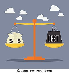 Money and Debt balance on the scale