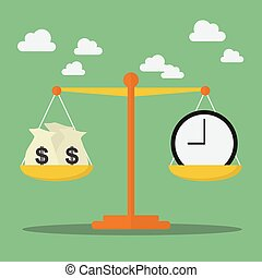 Money and Time balance on the scale