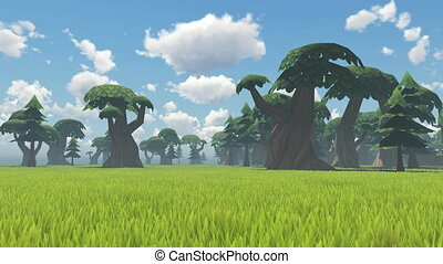 Landscape in a cartoon style - Green grass and trees in a...