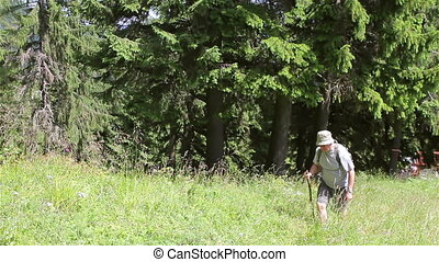 Mature adult man walking with backpack in forest.