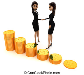 3d women shaking hand before gold coin stakes concept on...