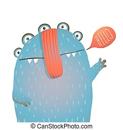 Kind and Cute Funny Monster Saying Hello Waving - Colorful...