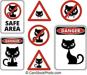 No cats allowed, danger cats and other roadsign vector...