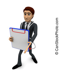 3d man standing with clipboard concept