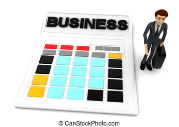 3d man standing with calculator concept