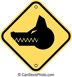 Angry dog - Angry Dog Yellow Danger Sign. Vector...