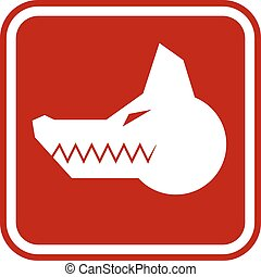 Angry dog - Angry Dog Red Danger Sign. Vector Illustration...
