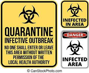 quarantine - Set of sign biohazard quarantine area. Vector...