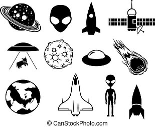 Sci-fi icons - Science fiction movie and book vector EPS8...