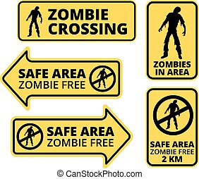 Zombie Apocalypse Safe area Signs, Symbols and Billboards...