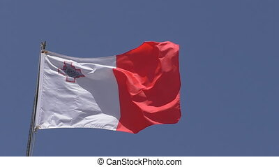 National flag of Malta closeup - Close up of white and red...