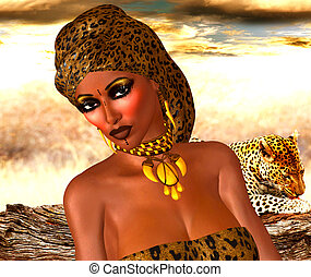 African Woman,Leopard Print - African American Woman in...