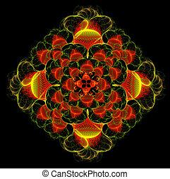 Fractal background illustration diamond flower with spirals