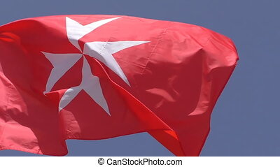 Civil ensign flag of Malta close up - Close up of white...
